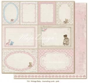 Bilde av Maja Design - 753 - Vintage Baby - JOURNALING CARDS PINK