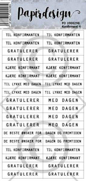 Papirdesign - Klistremerker - 1900298 - Konfirmant 4 , hvit