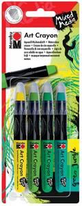 Bilde av Marabu Mixed Media - Art Crayon - Sett 4 Stk - GREEN JUNGLE
