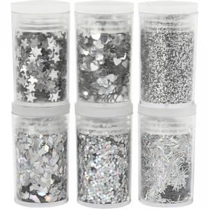 Bilde av Creotime - Glitter og paljetter - 6pk - Sølv