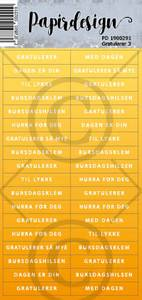 Bilde av Papirdesign - Klistremerker - 1900291 - Gratulerer 3 , gul