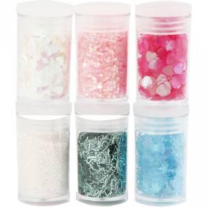 Bilde av Creotime - Glitter og paljetter - 6pk - Hvit, rosa og blå